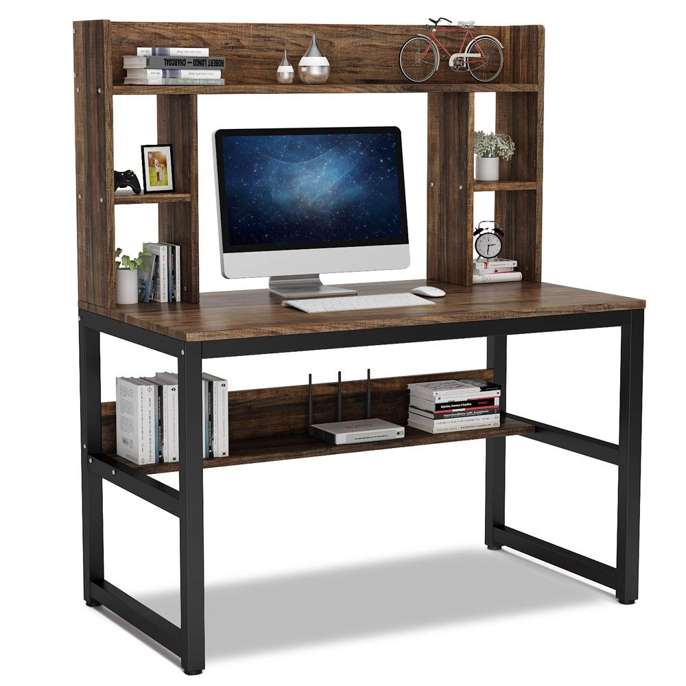 Tribesigns Computer Desk with Hutch, 47 Inches Modern Writing Desk with Storage Shelves, Office Desk Study Table Gaming Desk Workstation for Home Office, Vintage + Black Legs