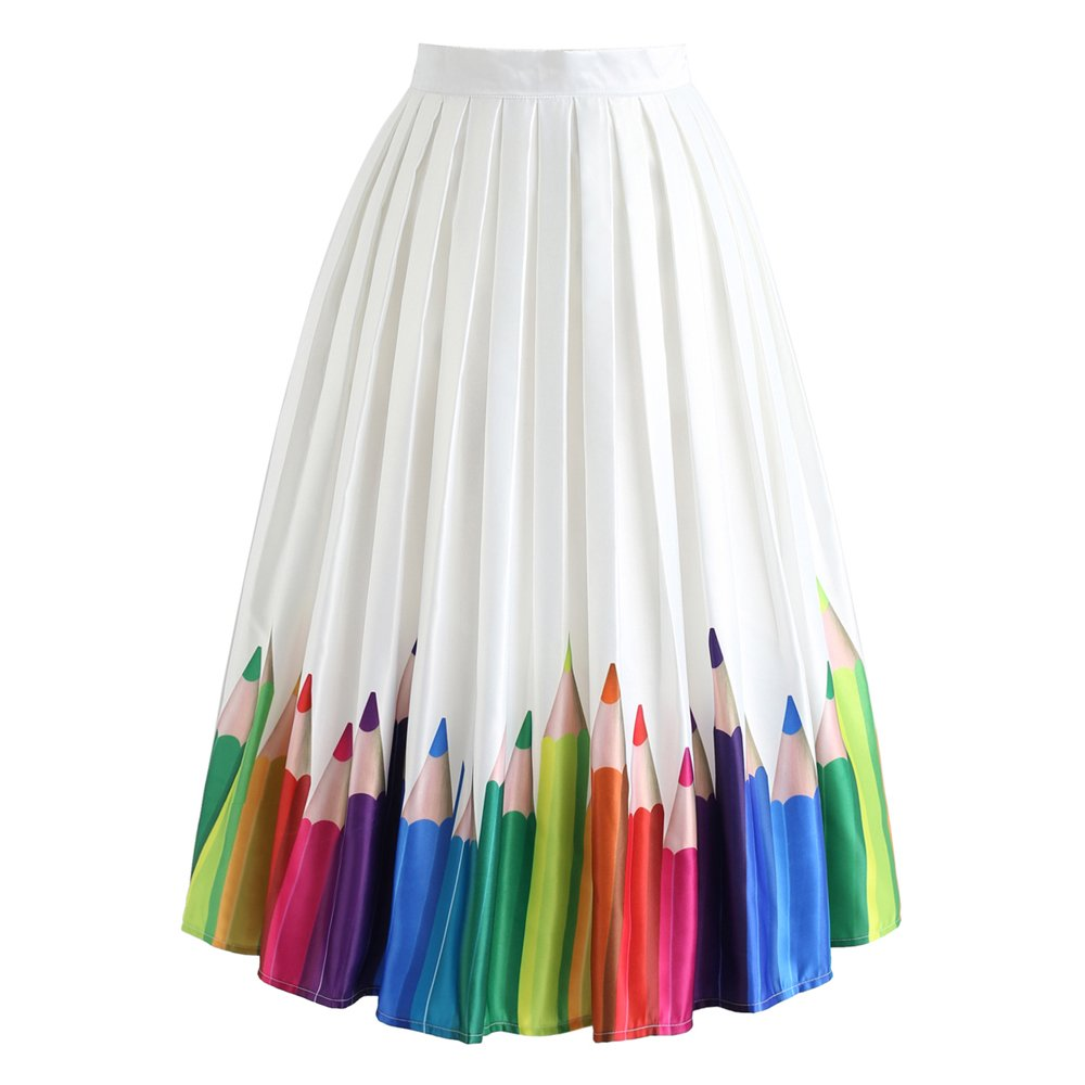 Chicwish Women's Colorful Pencil Printed High Waist A-line Midi Pleated Skirt by Chicwish (Image #2)