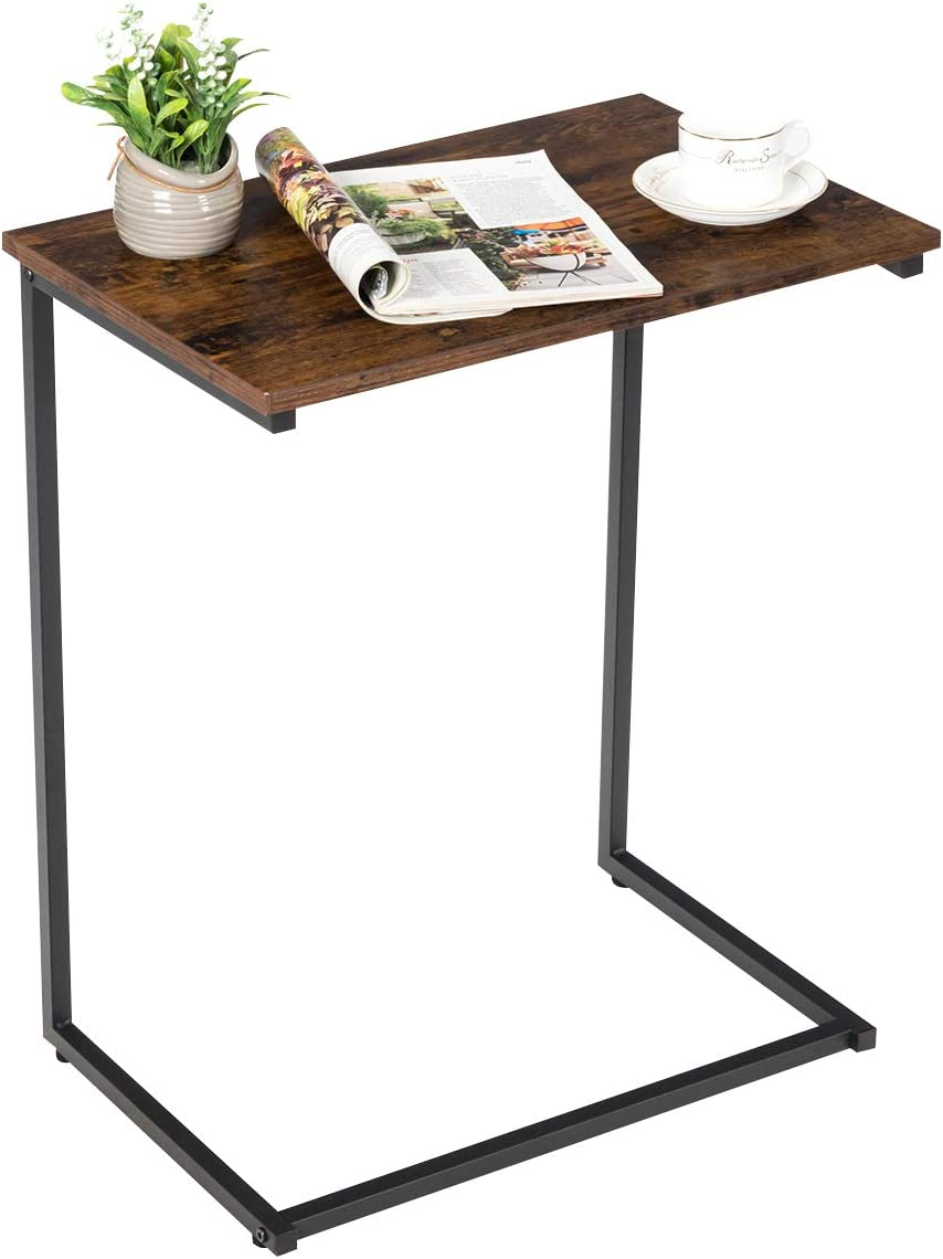 Tangkula Sofa Side End Table, C Table Snack Table Over Bed Table with Metal Frame, Industrial Side Table for Sofa Couch Bed, Living Room, Bedroom (Rustic Brown)