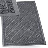 SlipToGrip - (Gray) Universal Plaid Door Mat with DuraLoop - XL 42