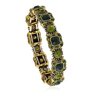 SUNSCSC Charm Crystal Rhinestone Bangle Bracelet for Women (Style 1)