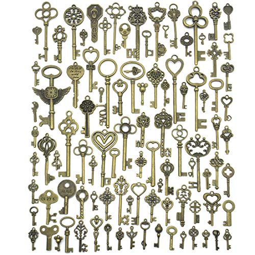 JIALEEY Vintage Skeleton Keys, Wholesale Bulk Lots Mixed Set of 100 Antique Bronze Brass Skeleton Castle Dungeon Pirate Keys, 10.5oz/300g (Bulk Vintage Keys)