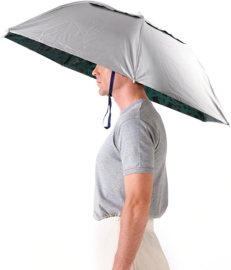 Luwint 36 Diameter Elastic Fishing Gardening Folding Umbrella Hat Headwear