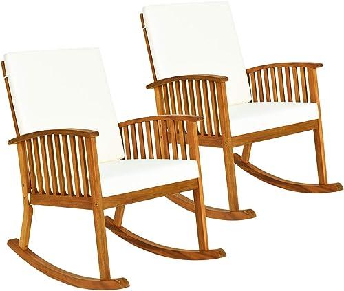 Tangkula 2 PCS Outdoor Acacia Wood Rocking Chair