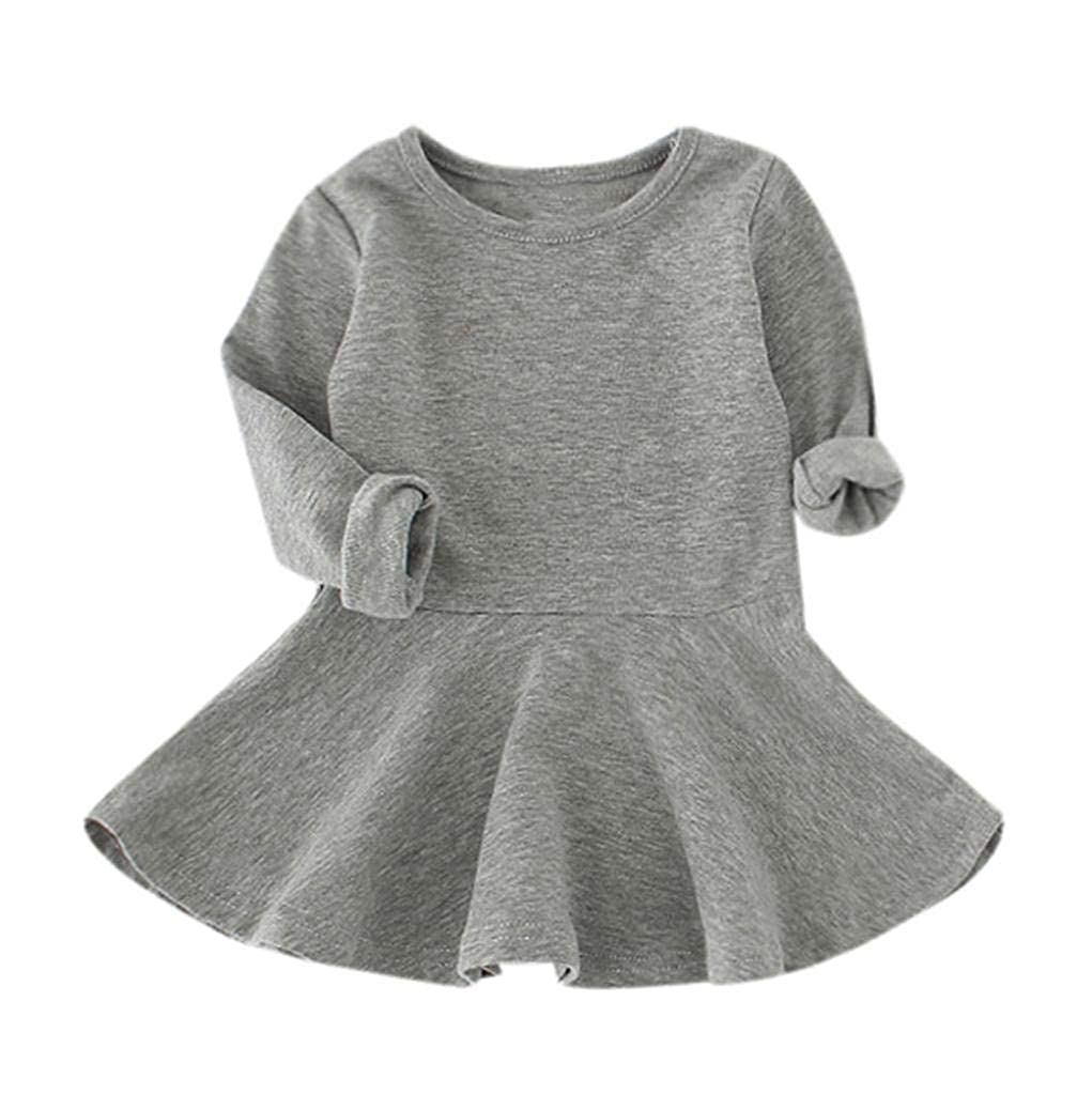 Pocciol 1-4 Years Old Cute Baby Girls Candy Color Princess Dress Long Sleeve Toddler Kids Dress