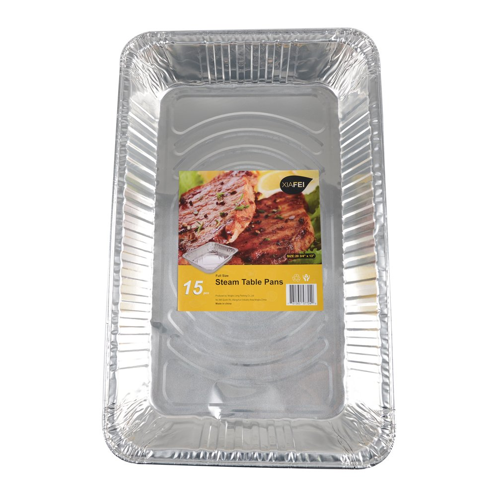 XIAFEI Disposable Aluminum Oblong Foil Steam Table Pans, Full Size Deep, Heavy Duty Roaster Pans (15 Pack) by XIAFEI (Image #2)