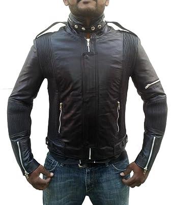 6793ac3e0 Hollywood Jacket Men's Daft Punk Leather Jacket at Amazon Men's ...