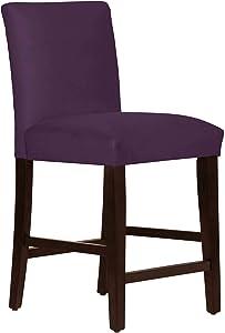 """Skyline Furniture 26"""" Counter Stool in Velvet Aubergine"""