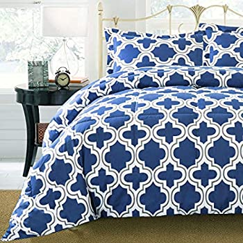 Amazon Com Ms 3pc Navy Blue White Grey Trellis Comforter