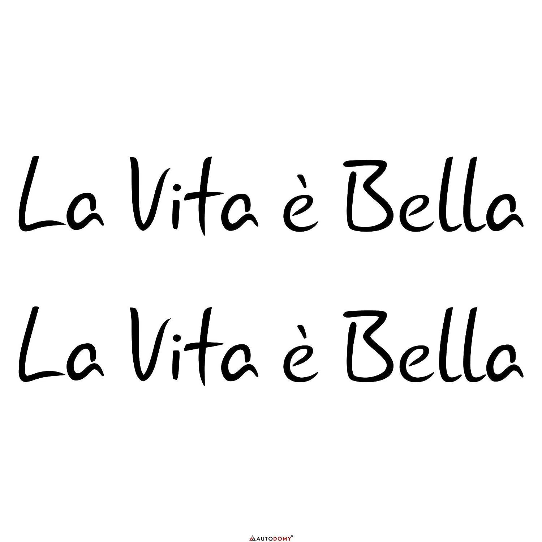 Negro Autodomy Pegatinas La Vita e Bella La Vida es Bella Pack 2 Unidades para Coche o Moto.