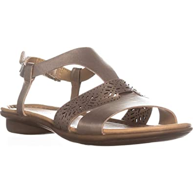 5a3936ec6 Naturalizer Womens Westly Leather Sandals Flat Sandals Gold 5 Medium (B