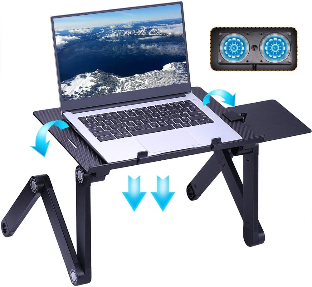 Laptop Stand for Bed Cozy Aluminum Vented Lap Workstation Desk with 2 Fan Mouse Pad Foldable Book Reading Stand Notebook Tablet