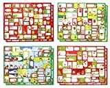 """Christmas Holiday Self Stick Gift Sticker Tags Labels, Multi-Colored Red, Green, White, Assorted Designs Santa, Snowman, Reindeer, 400 Count, 1"""" - 3"""""""