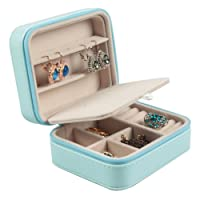 Soleebee Piccolo custodia da viaggio portatile Scatole di immagazzinaggio di gioielli Scatole di gioielli in pelle PU Gioielli Organizzatore per orecchini Collane Anelli con specchio