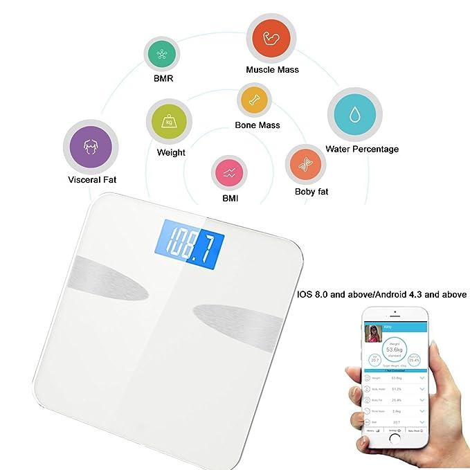 Báscula Grasa Corporal,YECO Digital Bluetooth Báscula Grasa Corporal con IOS y Android Smart App, 4 Sensores de Alta Calidad,nálisis Corporal de 8 ...