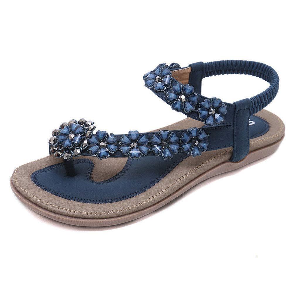 Bohemian Sandals,Boomboom Summer Women Teens Girls Flowers Flat Sandals Casual Beach Shoes (Blue,US 8.5)