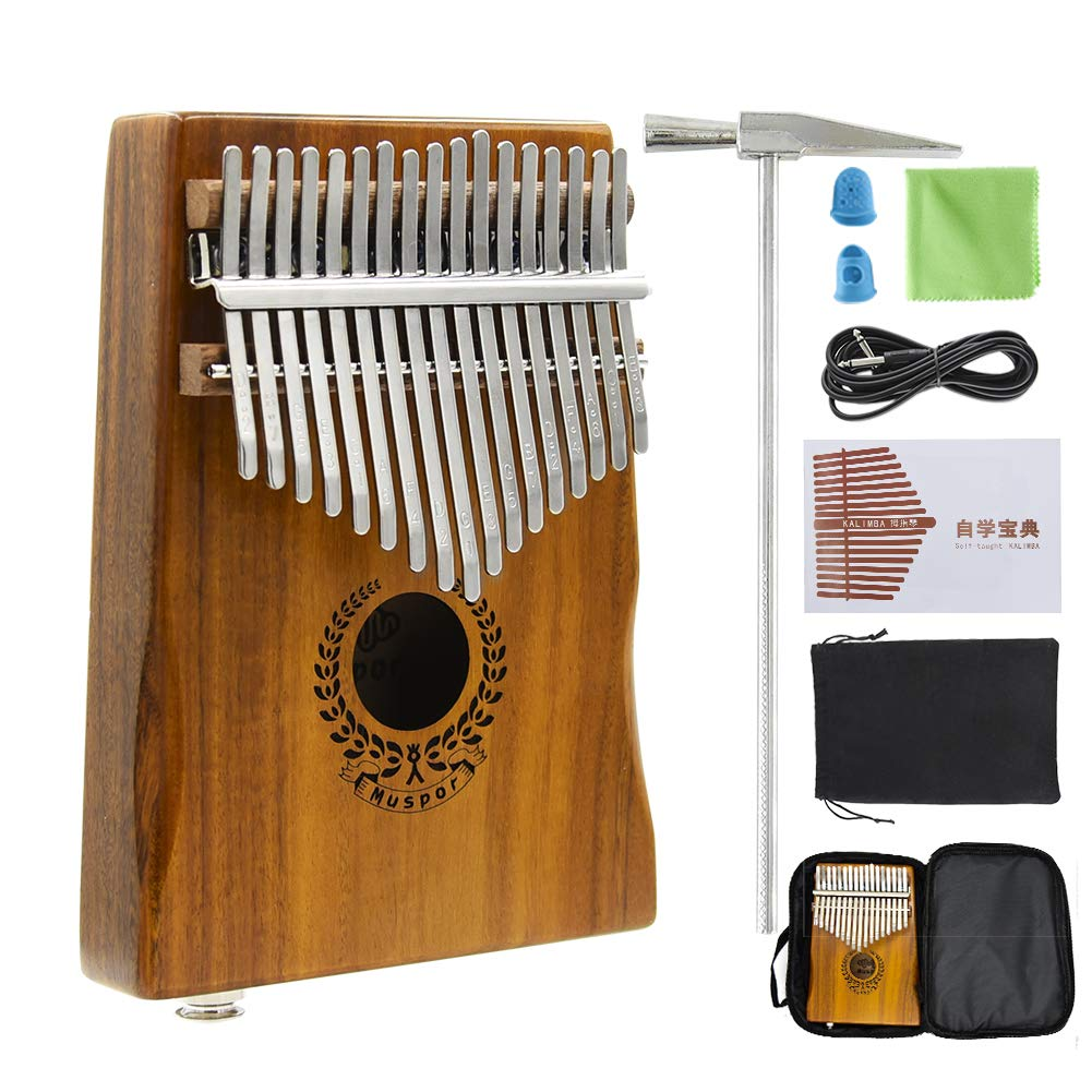 17 Keys Kalimba EQ Thumb Piano Electric Finger Piano Mbira Solid Acacia Wood with Calibrating Tune Hammer and Carry Box, Built-in Pickup and 6.35mm Interface, Perfect Gift for Musical Lovers By VOSTOR