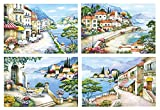 PP Printed Placemat w/4 Mediterranean Views & Three-Dimensional Effect. 17.25'' X 11.5'' (4 Pcs Assorted ).