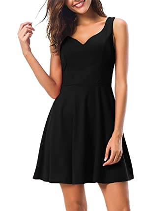 3966ae64e193 Kidsform Women's Sleeveless Mini Dress Summer Vintage 50s Short Dresses V  Neck Cocktail Evening Party Black