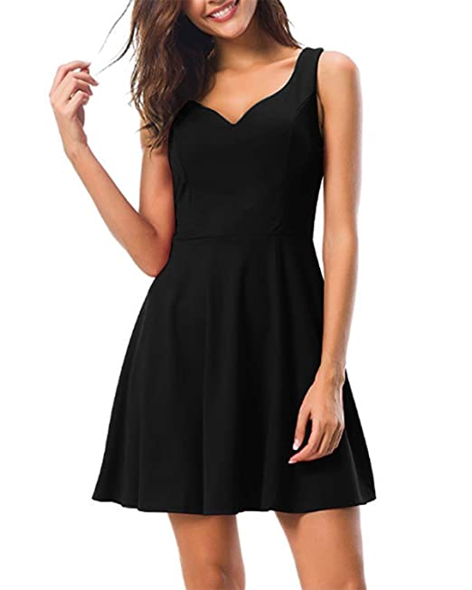 8583cbb94b5 Kidsform Women s Sleeveless Mini Dress Summer Vintage 50s Short Dresses V Neck  Cocktail Evening Party Black