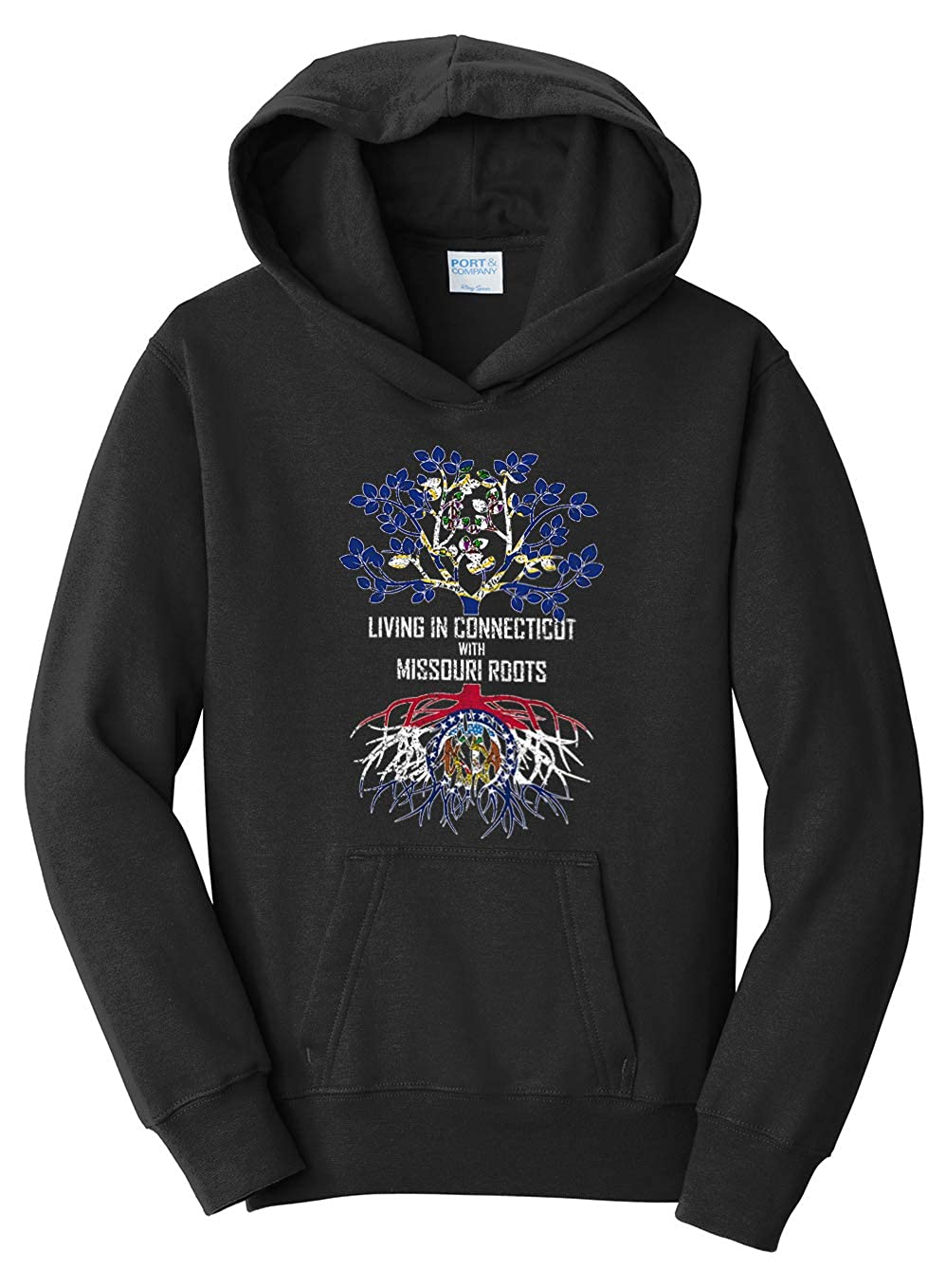 Tenacitee Girls Living in Connecticut with Missouri Roots Hooded Sweatshirt