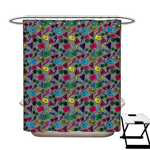 (Music Shower Curtain Collection by Modern Rap Hip Hop Glasses Funky Triangles Cassette Tapes on Minimalist Illustration Patterned Shower Curtain W36 x L72 Multicolor)