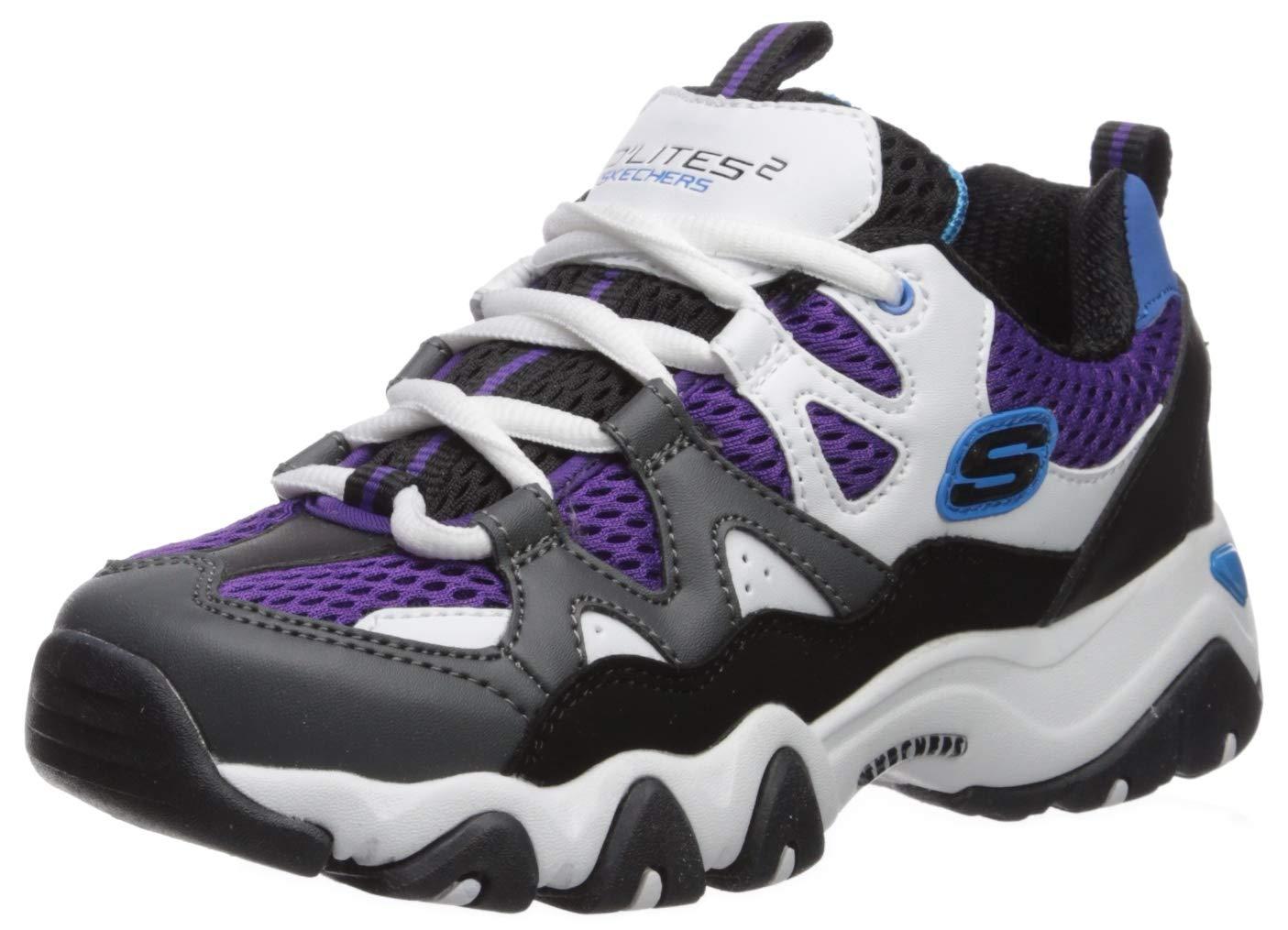 Skechers Kids Boys' D'Lites 2.0-Tidal Waves Sneaker, Charcoal/Black, 6 Medium US Big Kid