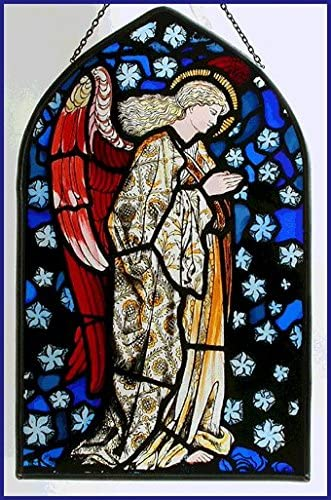 Decorative Hand Painted Stained Glass Arch Shape Church Panel Extra Large in an Angel Praying William Morris Design.