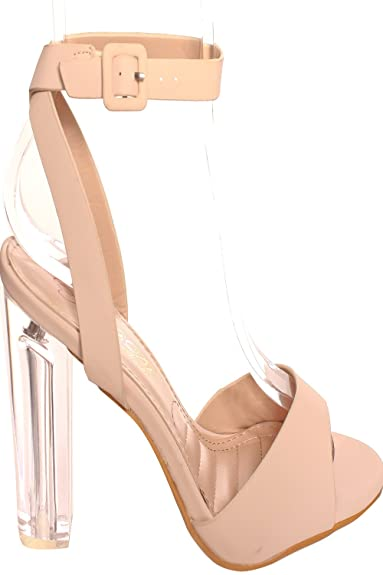 dfecece54ad Lolli Couture Elegant Open Toe Ankle Buckle Strap Clear Transparent Perspex  Chunky HIGH Heel 9 Nude