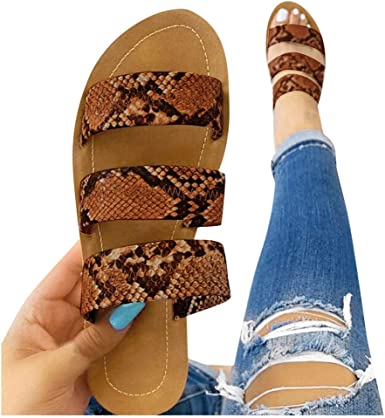 Vedolay Sandals for Women Comfy Shining Crystal Roman Shoes Casual Summer Beach Travel Indoor Outdoor Flat Slipper