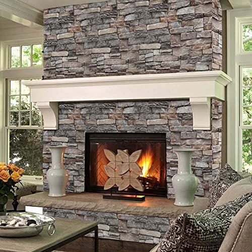 N E Home 3D piedra ladrillo papel pintado extra/íble PVC adhesivo de pared decoraci/ón del hogar arte papel de pared para dormitorio sala de estar fondo calcoman/ía