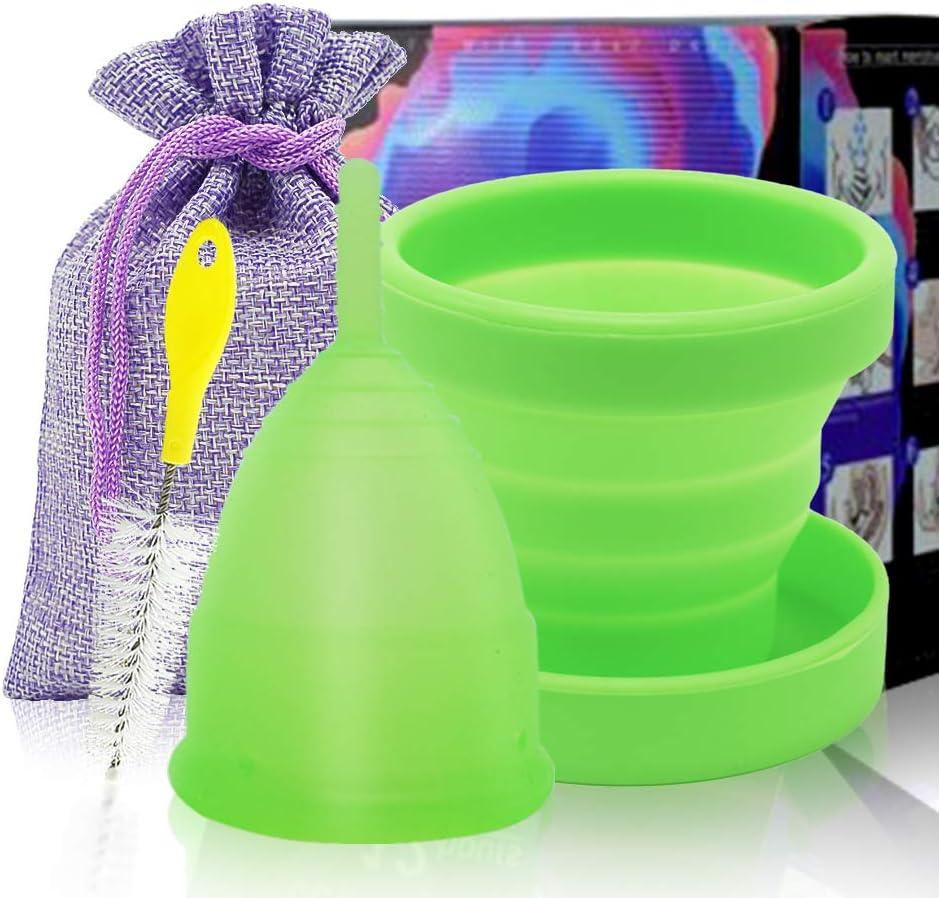 SPEQUIX Copa menstrual reutilizable para mujer con 1 taza esterilizadora y 1 cepillo de limpieza (S)