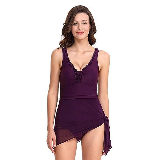 Traje De Baño De Las Mujeres Una Pieza Falda Bikini Sling Deep V ...