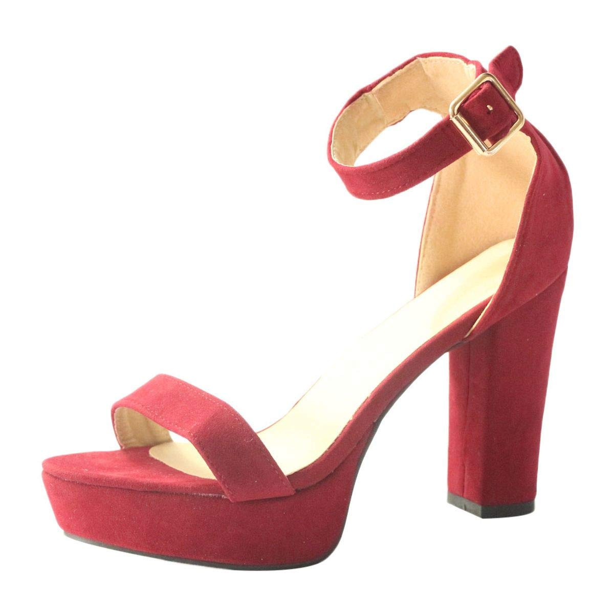 Women's Strappy Chunky Block Sandals Ankle Strap Open Toe Platform High Heel for Dress Party Evening Office Shoes Sandals (Red, 7)