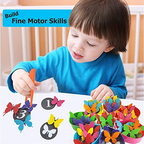 Skoolzy Color Sorting Preschool Learning Toys - Butterfly Counting Montessori Toys for Toddlers - STEM Toys for Girls & Boys Age 2 3 4 5 Year Old - 75pc Educational Math Manipulatives Matching Game