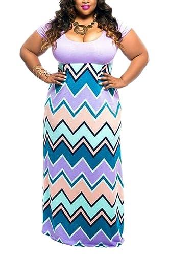 Linsery Women's Plus Size Scoop Neck Tank Top Chevron Zig Zag Stripe Maxi Dress
