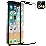 KENTY Pellicola Protettiva per iPhone X, [2 Pack] Pellicola Vetro Temperato iPhone X, Durezza 9H, Alta Trasparente, Anti-impronte, Ultra Resistente, 3D Touch Compatible (Nero)