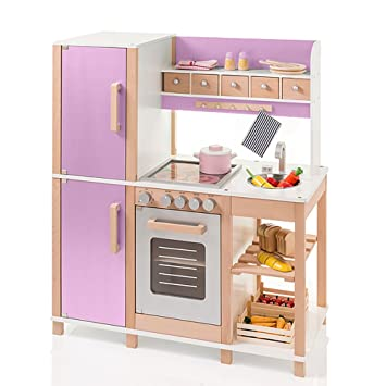 Sun Niños Juego de cocina de madera natural de color lila: Amazon.es ...