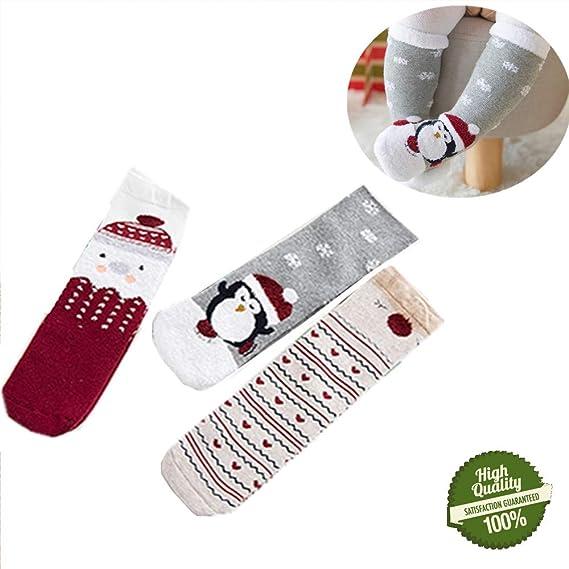 Morbuy Niñas Calcetines de Navidad, Cálido Niño Bebés Pequeños Sin Costura Tripulación Calcetines Suaves Algodón