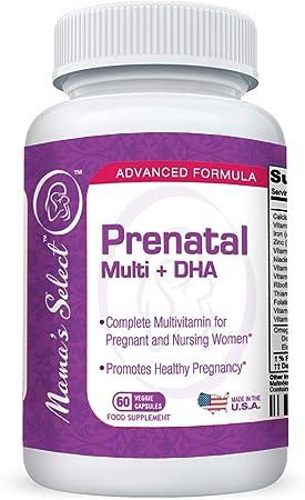Prenatal & Postnatal Multivitamin with DHA - Mama's Select - Omega 3 Fatty Acids, MethlyFolate for Folic Acid, Iron, Calcium, Methylated B Vitamins- Lactose / Dairy / Milk & Gluten Free - MTHFR Safe!
