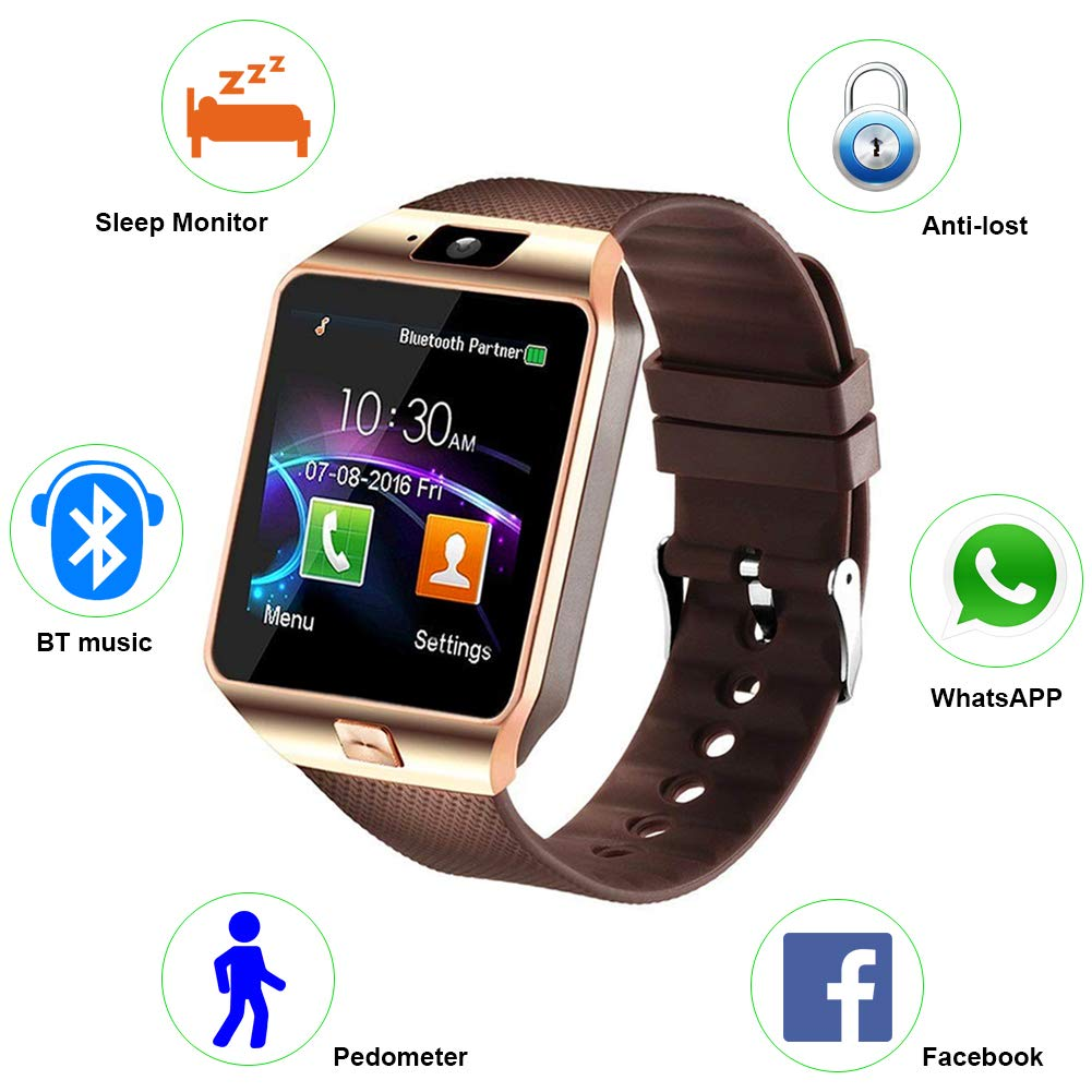 Padgene DZ09 Bluetooth Smartwatch,Touchscreen Wrist Smart Phone Watch Sports Fitness Tracker with SIM SD Card Slot Camera Pedometer Compatible with ...