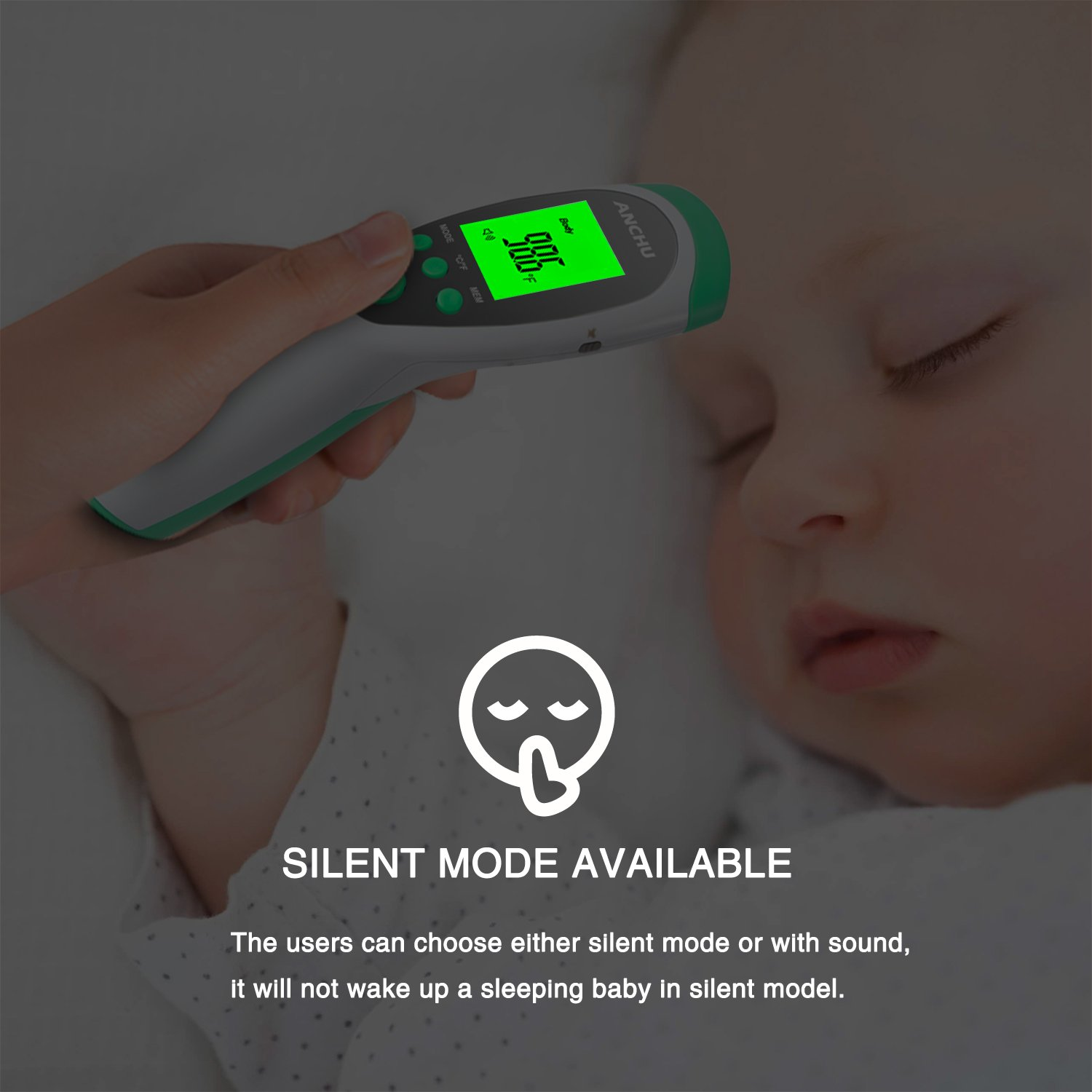Medical Infrared Non-Contact Forehead FeverThermometer for Baby Kids Infants and Adults with Fever Indicator FDA and CE Approved by ANCHU (Image #5)