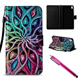 99 cent free shipping - Xperia E5 Case, Firefish Kickstand Card Slots Cash Holder Dual Layer Impact Resistant Case Cover with Wrist Strap Magnetic Snap Closure for Sony Xperia E5-Colorful