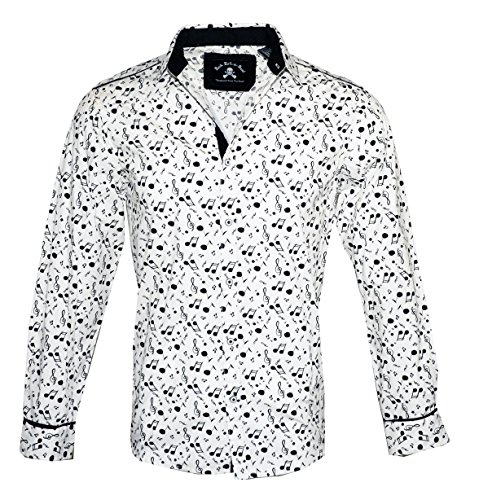 Men's Long Sleeve Music Note Shirt in White Music on My Mind 237W (XL)