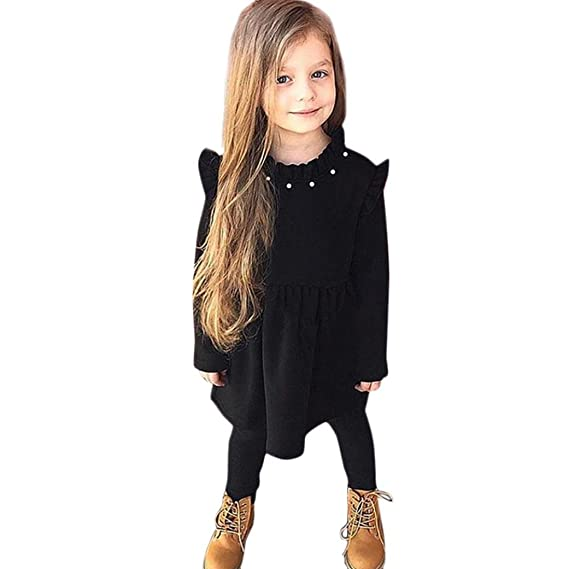 f953ac90a Vestidos niña, ASHOP Vestido de niñas Boda Fiesta de Princesa en Oferta  Casual sólido Manga Larga Falda Primavera Verano otoño Ropa para 1-5 años:  ...