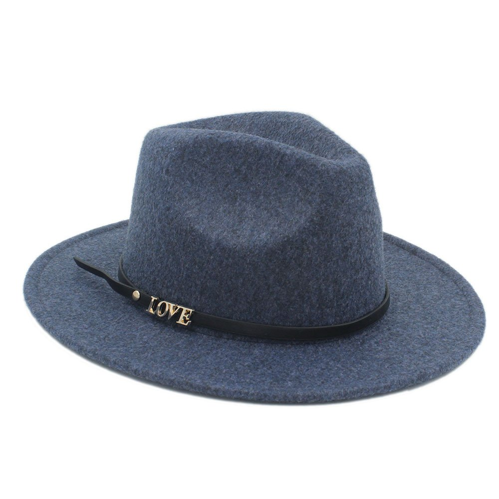 HYF Winter Auturmn Womens Mens Wide Brim Love Letter Fedora Hat Felt Hat