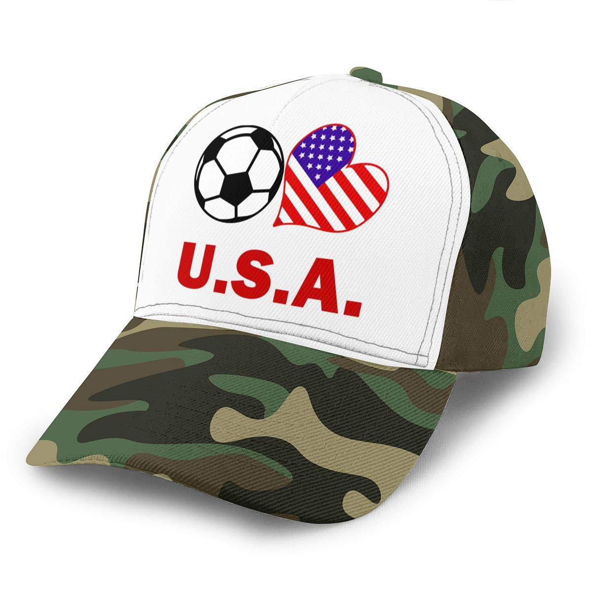 Soccer Heart Football U.S.A Flag Peaked Cap for Mens and Womens Cotton Cricket Cap