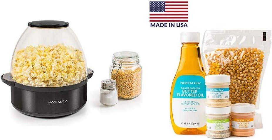 Nostalgia SP6BS Black Stainless Steel 6-Quart Stirring Speed Popcorn Popper with Seasoning, Oil, and Popcorn Kit
