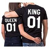 King Queen couple T-shirt JWBBU® Partner Look Couple tops Set pour couple Noir