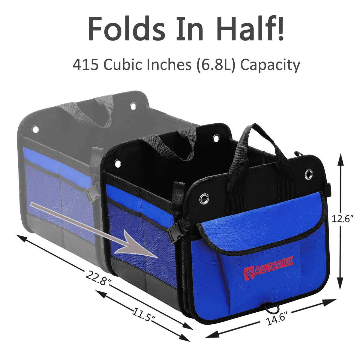 Autoark Multipurpose Car SUV Trunk Organizer,Durable Collapsible Adjustable Compartments Cargo Storage,AK-032
